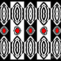 Op Art Pattern Black White Red Art No.181. by Drinka Mercep