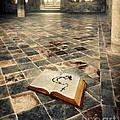 Open Book And Roasary On The Floor by Jill Battaglia