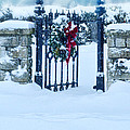 Open Gate In Snow With Wreath by Jill Battaglia