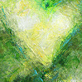Open Heart Green Abstract Urban Heart Painting by Belinda Capol