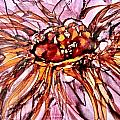 Orange And Pink Dahlia Alcohol Inks by Danielle  Parent