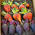 Orange And Purple Beet Vegetables In Wood Box Art Prints by Valerie Garner