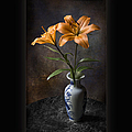 Orange Asiatic Lilies In Vase by Endre Balogh
