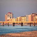 Orange Buildings On The Beach by Michael Thomas