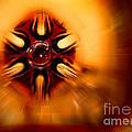 Orange Burst Abstract by Karen Adams