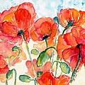 Orange Field Of Poppies Watercolor by CheyAnne Sexton