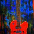 Orange Gretsch Guitar by Kathy Peltomaa Lewis