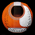 Orange Guitar Baseball White Laces Square by Andee Design