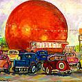 Orange Julep With Antique Cars by Carole Spandau