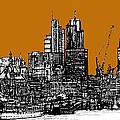 Dark Ink With Bright Orange London Skies by Adendorff Design