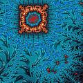 Orange On Blue Abstract by John Edwards