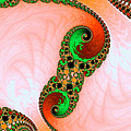 Orange Red And Green Abstract Fractal Art by Matthias Hauser