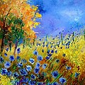 Orange Tree And Blue Cornflowers by Pol Ledent