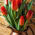 Orange Tulips In Copper Pitcher by Garry Gay