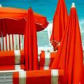 Orange Umbrellas by Karen Wiles