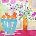 Oranges In Blue Bowl- Watercolor Painting by Linda Woods