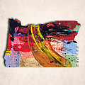 Oregon Map Art - Painted Map Of Oregon by World Art Prints And Designs