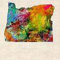 Oregon Watercolor Map by Michael Tompsett