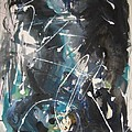 original abstract blue and black painting for sale-Blue Valley by Seon-Jeong Kim