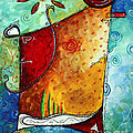 Original Abstract Pop Art Style Colorful Landscape Painting Home To Tuscany By Megan Duncanson by Megan Duncanson