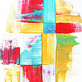 Original Bold Colorful Abstract Painting Patchwork By Madart by Megan Duncanson