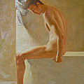 Original Classic Oil Painting Body Man Art- Male Nude In The Bathroom#16-2-3-01 by Hongtao     Huang