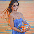 Original Classic Oil Painting Girl Art- Chinese Beautiful Girl And Goldfish by Hongtao Huang