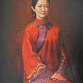Original Classic Portrait Oil Painting Woman Art - Beautiful Chinese Bride Girl by Hongtao     Huang