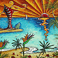 Original Coastal Surfing Whimsical Fun Painting Tropical Serenity By Madart by Megan Duncanson
