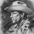 Original Drawing Sketch Charcoal Chalk  Gay Man Portrait Of Cowboy Art Pencil On Paper By Hongtao  by Hongtao     Huang
