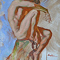 Original Impression Oil Painting Gay Man Body Art Male Nude -189 by Hongtao     Huang