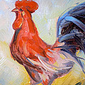 Original Animal Oil Painting - Big Cock#16-2-5-29 by Hongtao     Huang