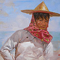 Original Oil Painting - Chinese Woman#16-2-5-26 by Hongtao     Huang