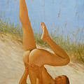 Original Oil Painting Man Art Male Nude On Sand On Canvas#16-2-5-05 by Hongtao     Huang