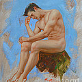 Original Oil Painting Man Body Art - Male Nude -037 by Hongtao Huang
