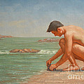 Original Oil Painting Man Body Art Male Nude By The Sea#16-2-5-42 by Hongtao     Huang