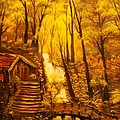 Tranquil Cottage Stream- Original Sold -buy Giclee Print Nr 38 Of Limited Edition Of 40 Prints  by Eddie Michael Beck