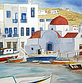 Watercolor - Mykonos Greece Detail by Cascade Colors
