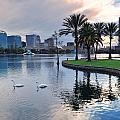 Orlando Sunset Over Lake Eola by Songquan Deng