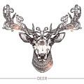 Ornamental Tattoo Deer Head. Highly by Alex Rockheart