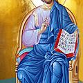 Orthodox Icon Of Jesus In Blue by Munir Alawi