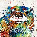 Otter Art - Ottertude - By Sharon Cummings by Sharon Cummings