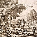 Otter Hunting By A River, Engraved by Francis Barlow