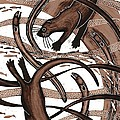 Otter With Eel, 2013 Woodcut by Nat Morley