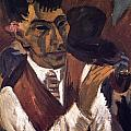 Otto Mueller With Pipe by Ernst Ludwig Kirchner
