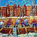 Outdoor Hockey Rink Winter Landscape Canadian Art Montreal Scenes Carole Spandau by Carole Spandau