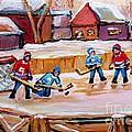 Outdoor Rink Hockey Game In The Village Hockey Art Canadian Landscape Scenes Carole Spandau by Carole Spandau