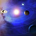 Outer Solar System Planets by Mark Garlick/science Photo Library