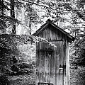 Outhouse In The Forest Black And White by Matthias Hauser