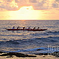 Outrigger Canoe At Sunset In Kailua Kona by Catherine Sherman